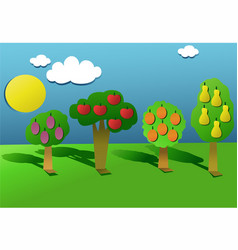 Cut out paper orchard vector