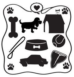 Dog stuff silhouettes vector