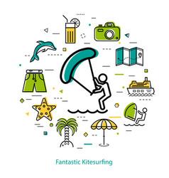 Fantastic kitesurfing - round line concept vector