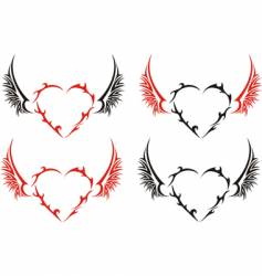 four tribal hearts with wings vector image