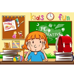 Girl learning in the classroom vector