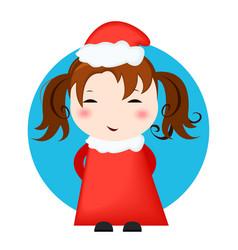greeting card christmas card with christmas girl vector image