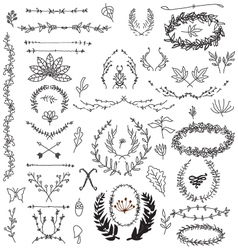 hand drawn decorative floral vintage vector image vector image