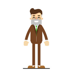 happy bearded man in suit character vector image