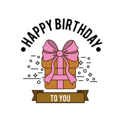 Happy birthday gift present with ribbon decoration vector