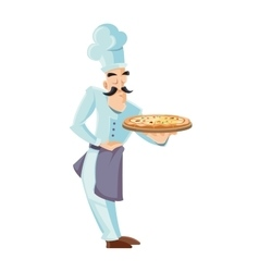 itallian cook holding tray vector image vector image