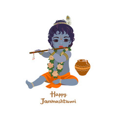 Krishna janmashtami greeting card vector