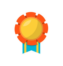 Label medal with ribbon vector