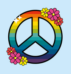 Nice hippie emblem with flowers design vector
