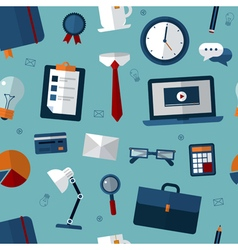 Office Seamless Pattern with Office Elements vector image