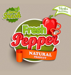 organic food label - fresh pepper logo vector image vector image