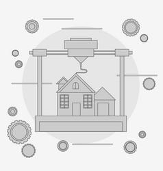 prints a house concept 3d modeling vector image
