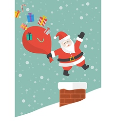Santa claus with red big bag jumping in the vector