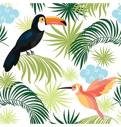 Seamless pattern with tropical birds vector