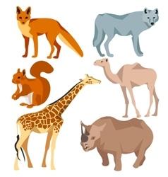 Set Isolated different animals fox wolf giraffe vector image