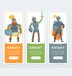 set of three colorful banners with armed medieval vector image vector image