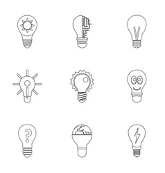 smart bulb icons set outline style vector image