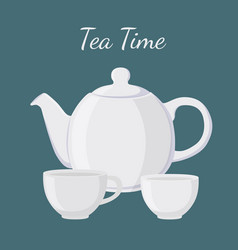 White teapot and cup vector