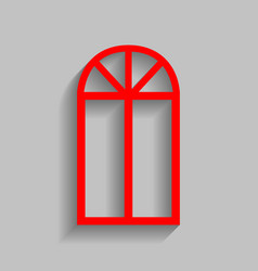 Window simple sign red icon with soft vector