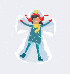 Happy girl makes snow angel winter vector