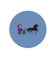 stylish icon in color circle carriage with horse vector image