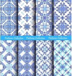 Blue backgrounds weave fabric patterns vector