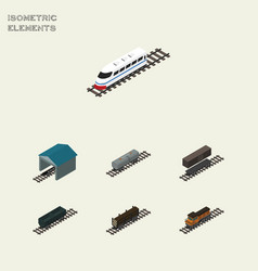 Isometric transport set of carbon railway vector