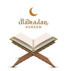 Ramadan kareem text and open book koran vector