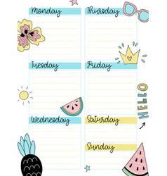 weekly summer planner template vector image