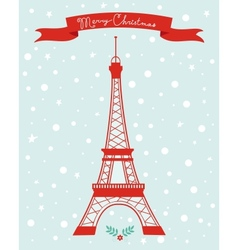 Merry christmas paris vector