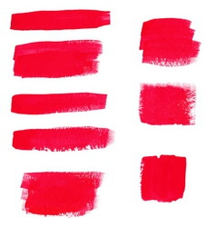 Hand-drawing red textures of brush strokes in vector