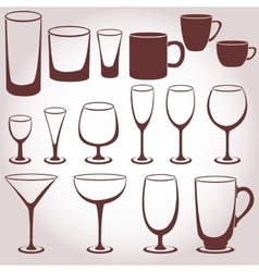 Set of glassware vector image