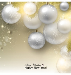 Christmas background with balls white xmas baubles vector