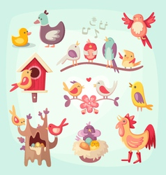 Set of colorful spring birds vector