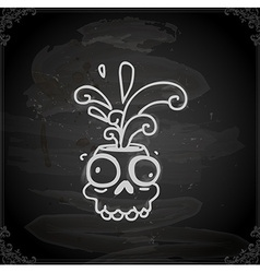 Hand drawn skull cartoon with paint splatter vector