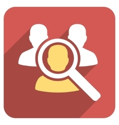 Search patient flat rounded square icon with long vector