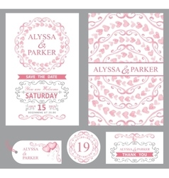 Wedding invitation setpink decorgrey swirls vector