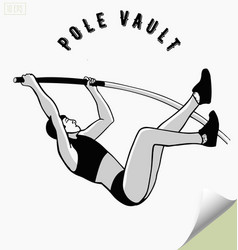 Hand drawn pole vault athlete jumping vector