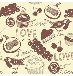 Cupcakes confectionery pattern vector