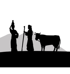Woman with vessel and man with cow icon vector