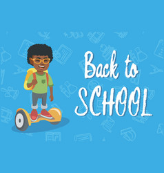 African schoolboy riding on gyroboard to school vector