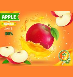 apple juice advertising fruit refreshing drink vector image vector image