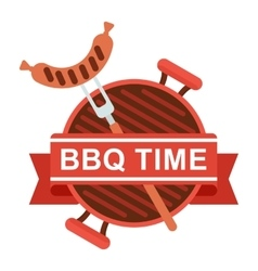 Bbq logo grill pan fork vector