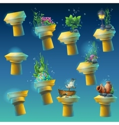 Big set of underwater ancient columns vector