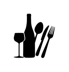 Black wine bottle glass and cutlery icon vector
