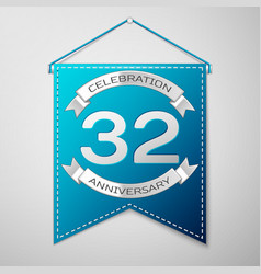 blue pennant with inscription thirty two years vector image