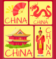 China fan ancient soldier red dragon and house vector