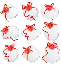 Collection of holiday greeting cards with red vector