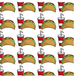 Delicious mexican tacos with tasty fries french vector