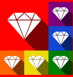 Diamond sign set of icons vector